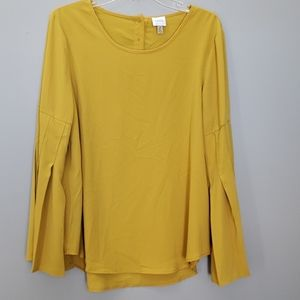 Cupio mustard top with wide pleated sleeves, sz L